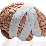 human brain by itself and wrapped in gauze to indicate injury.